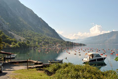 Mussel farm in the Bay of Boka Kotorska. Mussel farm in the Bay of Boka Kotorska, near Kotor town, Montenegro Stock Photos