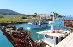 Mussel fishery boats, Capoiale, Italy Royalty Free Stock Image