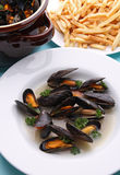 Mussel and french fried Royalty Free Stock Photo