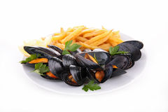 Mussel and french fries Royalty Free Stock Photo