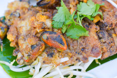 Mussel fried in egg batter. Thailand's most popular foreign cuisine Royalty Free Stock Photo