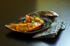 Mussel with garlic Royalty Free Stock Photos
