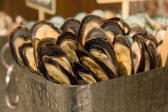 Mussel owoce morza na lodzie dla bufeta zdjęcie stock
