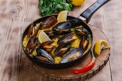 Mussel paella Stock Photo