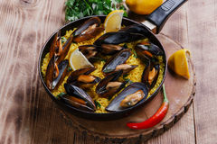Mussel paella Stock Photography