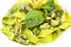 Mussel Pasta. Seafood and white wine spaghetti Stock Images