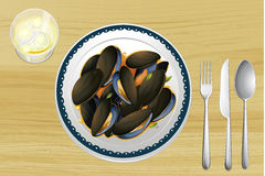 Mussel on a plate Stock Photos