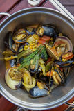 Mussel Pot. Gourmet Pot of Cooked Mussels stock photography