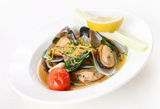 Mussel with shell and vegetable Royalty Free Stock Photo