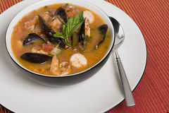 Mussel, Shrimp and Scallop Soup Stock Image