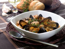 Mussel soup Stock Photos