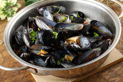 Mussel soup. Soup of mussels in the pan Stock Photo