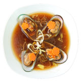 Mussel soup with cognac Stock Image