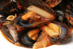 Mussel soup with pasta Stock Image