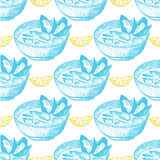 Mussel soup pattern. Mussel soup seamless pattern on white background Stock Photo