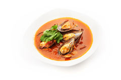 Mussel soup on white background Royalty Free Stock Photo