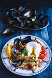 Mussel with spaghetti Royalty Free Stock Photos