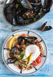 Mussel with spaghetti and egg Royalty Free Stock Photography