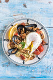 Mussel with spaghetti and egg Stock Photos