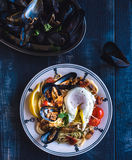 Mussel with spaghetti Stock Photos