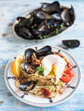 Mussel with spaghetti Stock Image