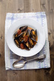 Mussel with tomato chorizo sauce on a plate Stock Photo