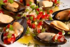 Mussel vinaigrette. Mussels in vinaigrette sauce, Spanish tapa Royalty Free Stock Photos