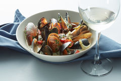 Mussel with white wine sauce on table Stock Photography