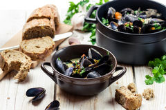 Mussels as a lunch  Stock Photo