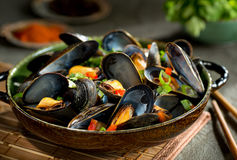 Mussels Asian Style. Delicious asian style steamed mussels with red pepper, green onion, and coriander in a coconut broth Stock Images