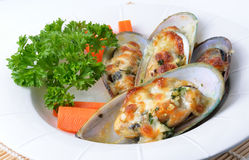 mussels baked with cheese Stock Photo