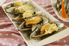 Mussels baked with parmesan cheese Royalty Free Stock Images