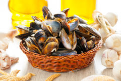 Mussels in basket. Cooked fresh mussels in basket Royalty Free Stock Image