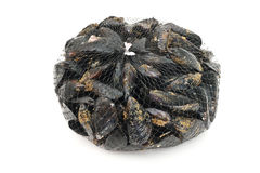 Mussels. Basket with fresh mussels over white background Stock Photos