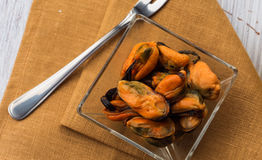 Mussels in bowl Stock Photo
