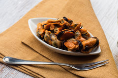 Mussels in bowl Royalty Free Stock Photography