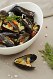 Mussels in a bowl Stock Photo