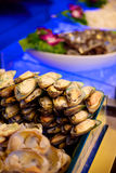 Mussels in buffet restaurants Royalty Free Stock Photo