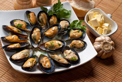 Mussels with Butter Sauce Stock Photos