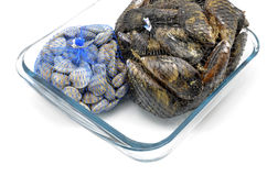 Mussels and clams in two net bags on glass bowl Stock Photos
