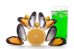 Mussels and cocktail Royalty Free Stock Photo