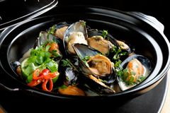 Mussels in coconut milk with lemongrass Royalty Free Stock Image