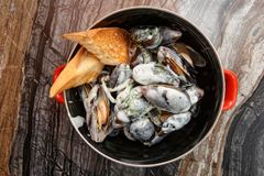 Mussels cooked with creamy sauce and served in metal pot Royalty Free Stock Image