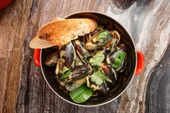 Mussels cooked with curry and served in metal pot, Asian food Stock Images