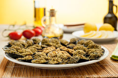 Mussels cooked in italin style Stock Image