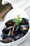 Mussels cooked with white wine sauce Stock Photos