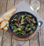 Mussels cooked in wine Stock Images