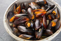 Mussels cooked in wine sauce with herbs in a bowl Stock Photos