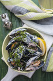 Mussels in cream and bacon Stock Photos