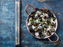 Mussels and Dor Blue sauce Royalty Free Stock Photography